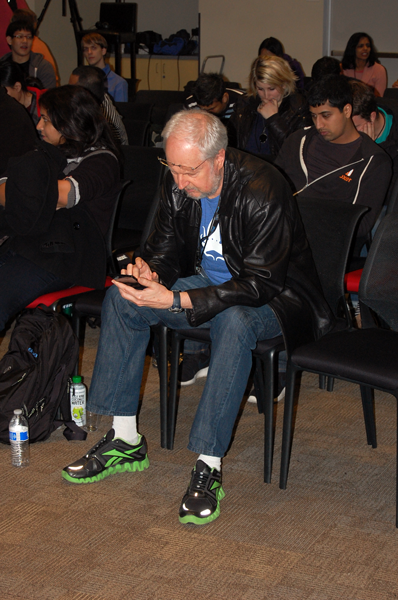 Mr. JavaScript himself - Douglas Crockford, unaware of my paparazzi tendencies.