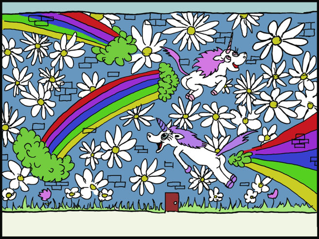 'Unicorns farting rainbows' from Eran Hammer's presentation 'Node Inc.', artwork by @ChrisMCarrasco